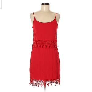 Red lace casual dress